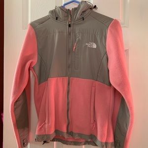 Jackets & Blazers - Pink and Gray Hooded Fleece Jacket